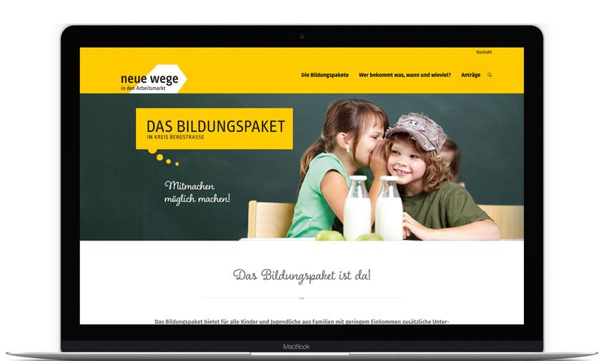 Internetauftritt Bildungspaket Neue Wege