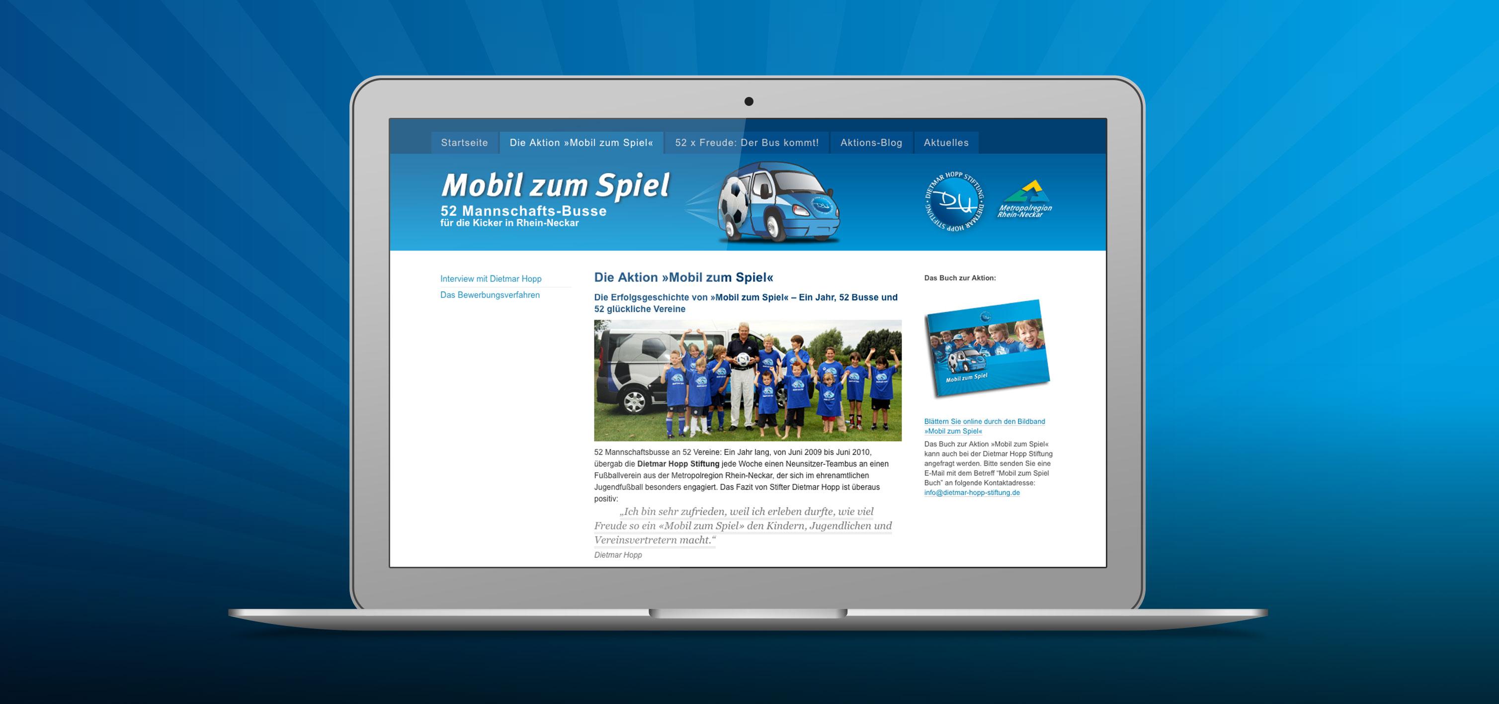 Website »Mobil zum Spiel«